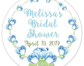 60 Stickers de douche de mariage Floral Bridal Shower étiquettes, autocollants, douche de mariage, Bridal Shower faveur, bleu fleuri