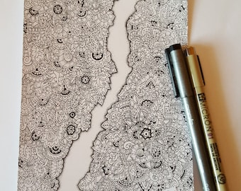 Cracked Doodles Detailed Colouring Page