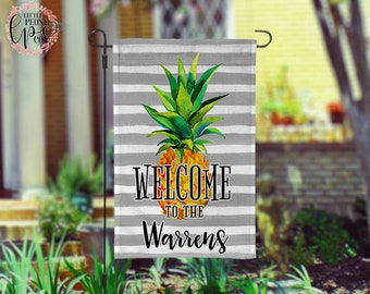 Personalized Pineapple Garden Flag - Black and White Stripe Welcome Pineapple Custom Yard Flag
