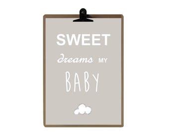 Nursery print - Grey color Nursery art prints - baby nursery decor - nursery wall - Children Art - Kids Room