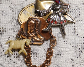 Cowgirl Pin, western brooch, cowgirl brooch, cowgirl boots, vintage jewelry, one-of-a-kind