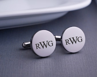 Monogram Cuff Links, Personalized Cufflinks, Wedding Gift for Groomsman, Husband Cuff Links, Monogram Gift for Him