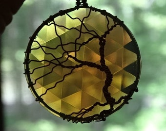 Suncatcher Tree from Copper Wire and Glass Jewel