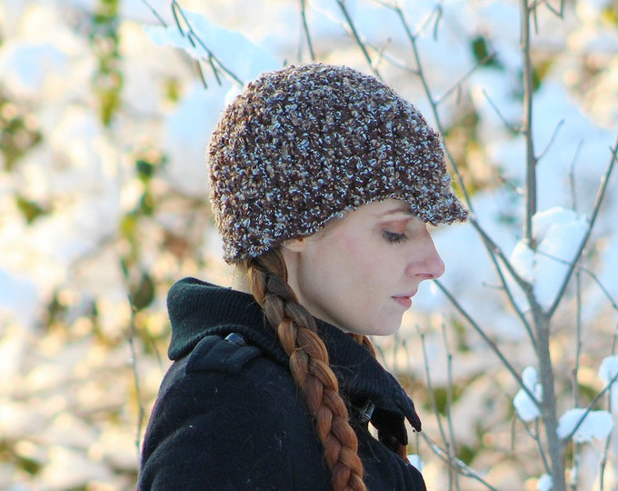 Brown Earthy Tones Hat Newsboy Billed Beanie Handmade Christmas Gift Ready to ship