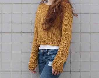 Hand knit woman cotton sweater cropped top cover up loose weave Mustard Yellow