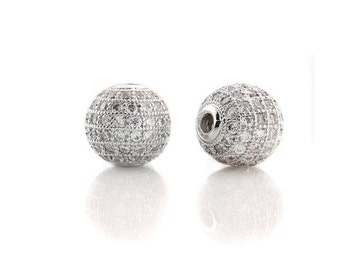 2 pcs White gold  Plated Clear White CZ Cubic Zirconia Pave Micro Setting Round Beads 8mm