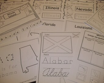 278 Printed United States of America States Worksheets.  Preschool and Kindergarten 50 States geography tracing.
