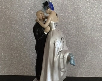 Tattooed Wedding Cake Topper . Bald & Bearded Groom . Custom Painted and Personalized to Resemble You