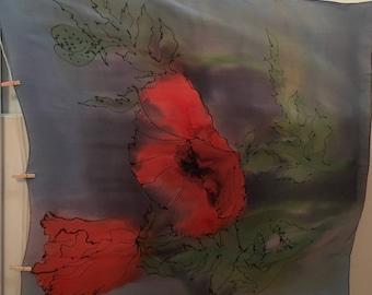 Pictor Silk Poppy Scarf