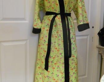 Flamingo Flannel Robe / Full Length Flannel Robe / Flamingo Flannel Robe on Lime Green Background with Black Trim