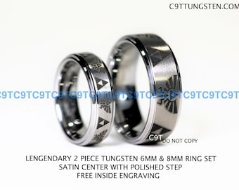 Top Quality Tungsten Ring, 6MM Or 8MM LEGEND of ZELDA Brushed Silver Ring