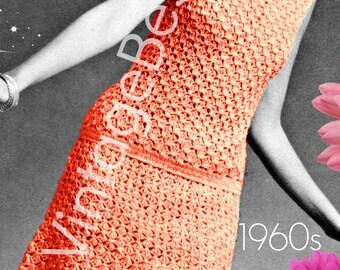 Dress Crochet PATTERN • INSTANT DOWNlOAD • PdF Pattern • 1960s Vintage • Mod Coral Lace Dress • Ladies Summer Wear • Lovely Petal Collar