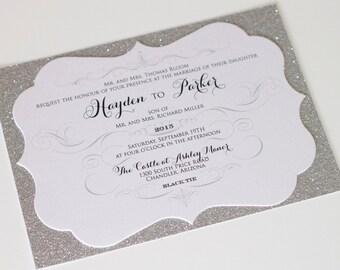 Glitter Wedding Invitation - Elegant Wedding Invitation - Vintage Wedding Invitation - White Silver Wedding - Hayden Sample Horizontal