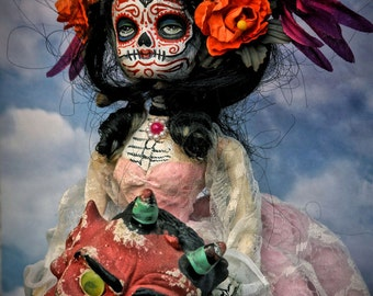 Beautiful Mortal Dia De Los Muertos Doll in Clouds with Devil Canon PRINT 413 Reproduction by Michael brown