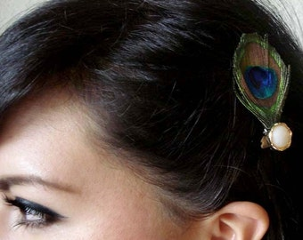 peacock feather hair clip - bohemian feather fascinator - peacock hair accessory - hair accessories for women - feather hair clip - AUDREY