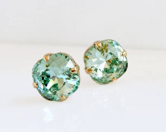 Mint green crystal earrings - mint green studs - green crystal studs - crystal studs - Swarovski crystal - green earrings