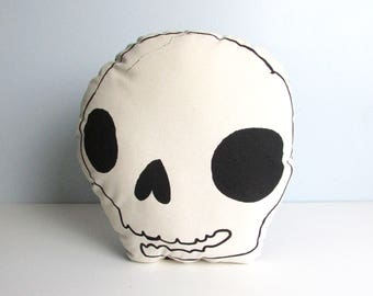 Skull Shaped Pillow. Cute Spooky Accent Pillow. Hand Pulled Screenprint. Ready to Ship. Durable Canvas.