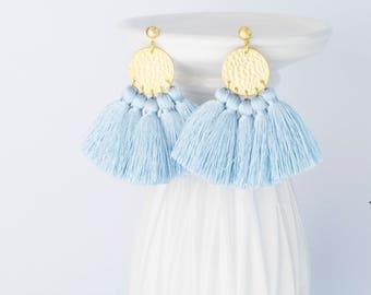 Pastel Blue Little Tassel Earrings,  Pastel Blue Mini Tassel Earrings, Pastel Blue Jewelry, Wedding Earrings, Blue Bridesmaid Earrings