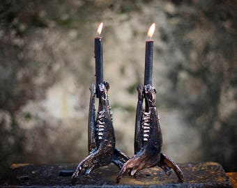 Sheep Bone Ritual Candle Holders   esoteric jawbone candlestick   macabre skeleton candleholder   goth taper candelabra   OOAK Uruz Metals