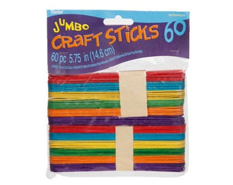 60 Jumbo Colored Craft Sticks (Popsicle Sticks), Wood, 5.75 in x .75 in