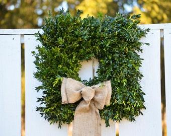 """Fresh 18"""" Square Boxwood Wreath, square boxwood wreath, wedding wreath, holiday wreath, fresh wreath, winter wreath, Virginia boxwood"""