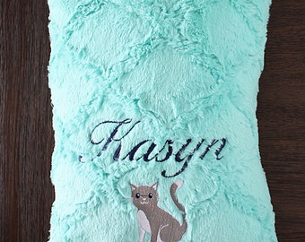 Pillowcase, Minky, Airplane Plush Lattice Toddler Pillow, Personalized pillowcase, Travel Pillow, Pillow with Name, Cat Embroidered Pillow