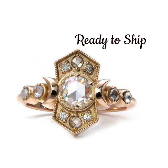 Ready to Ship Size 6 - 8 - Old Soul Moissanite Moon Ring - Antique Styled 14k Rose Gold Engagement Ring