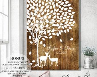 Guest Book Sign Wedding Guest Book Alternative, Wedding Gift Wedding Canvas Rustic Wedding Tree Guest Book Tree Wood Wedding Signs Guestbook