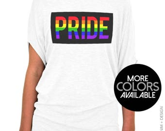 Gay Pride Shirt, Block Rainbow Pride, Off the Shoulder, Slouchy Tee, LGBT Rights, Equality, LGBTQ Community, Support, Womens Clothing, Top