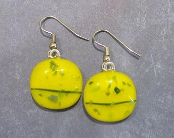 Yellow Dangle Earrings, Pierced Jewelry, Fused Glass Earrings, Yellow and Blue/Green Earrings - Paula --6