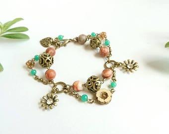 Bronze Flower Bracelet, Jasper, Boho Jewelry, Hippy Flower, Boho Style, Gemstone Jewelry, Hippy Bracelet, Orange, Multistrand, Floral