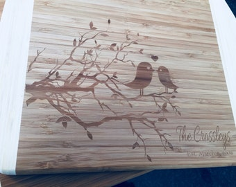 Personalized Lovebirds Cutting Board- Great Wedding Gift Idea. Bamboo Cutting Board. Housewarming Gift, Bridal Shower Gift, Couple's Gift