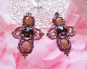 Handmade cross-shaped earrings