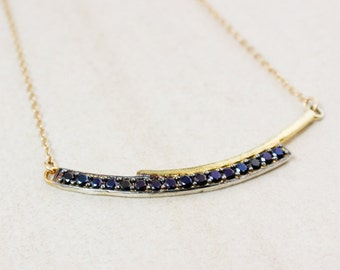 Gold Black Spinel Bar Necklace – Bar Pendant