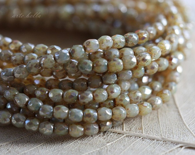 CASHMERE BITS .. 50 Picasso Faceted Czech Glass Beads 3mm (3216-st)