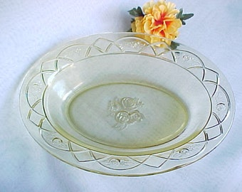 1930s Federal Glass Rosemary Amber Oval Vegetable Bowl, Dutch Rose Depression Glass Dinnerware, Vintage Collectible Old Colored Serving Bowl