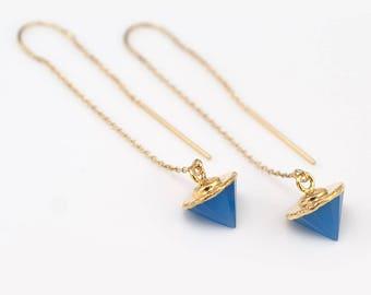 Blue Chalcedony Gemstone Threaders, Gold Threader Earrings, Spike Earrings, Minimal Jewelry, Long Gold Dangle Earring, Delicate Threaders