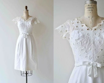 Angel Eyes dress | vintage 1950s dress | white lace 50s dress