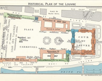 1960 Louvre Museum Paris France Vintage Map