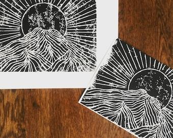 Wy'east linoleum block print