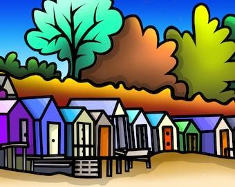 Abersoch Beach Huts - colourful fine art print by Amanda Hone