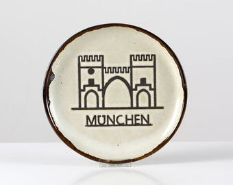 Munich wall plate, ceramic deco plate, Munich Stachus, plate wall hanging