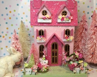 Easter Putz Cottage(Large) in Pinks with Easter Basket, Chick and Miss Bunny.