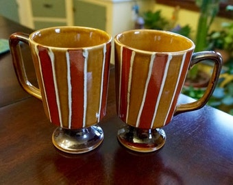 Ceramic; Footed Coffee Mugs; Set of Two; Hand Glazed!!!