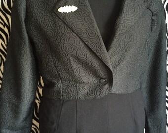 BOLERO JACKET , 1980's black bolero jacket with lapel, suit coat front, embossed material New Edition brand