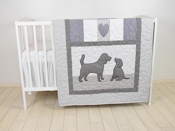 Baby Boy Blanket, Labrador Quilt, Dog Nursery Blanket, Chevron Kids Quilt,  Gray  Bedding,  Chevron Blanket, Custom Made