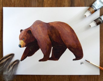 A Brown Bear Watercolour A4 Print