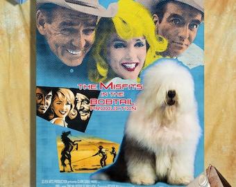 Old English Sheepdog Art - CANVAS  Print - Dog Portrait -  Dog Painting - Dog Art - Dog Print - The Misfits Movie Poster