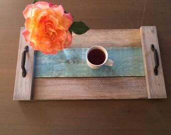 Blue & Grey  Wooden Breakfast Tray