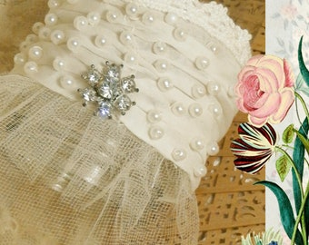 Bridal Wrist Cuff, Pearls and Rhinestone Accent, Beaded Fabric Bracelet